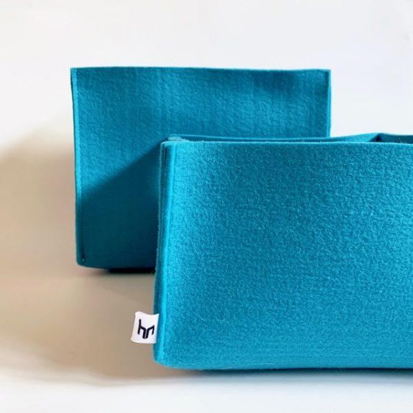 vrolijke blauwe opberg manden handgemaakt van wasbaar kleurvast vilt
