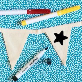 maak je eigen vrolijke vlaggenlijn met dit leuke pakket