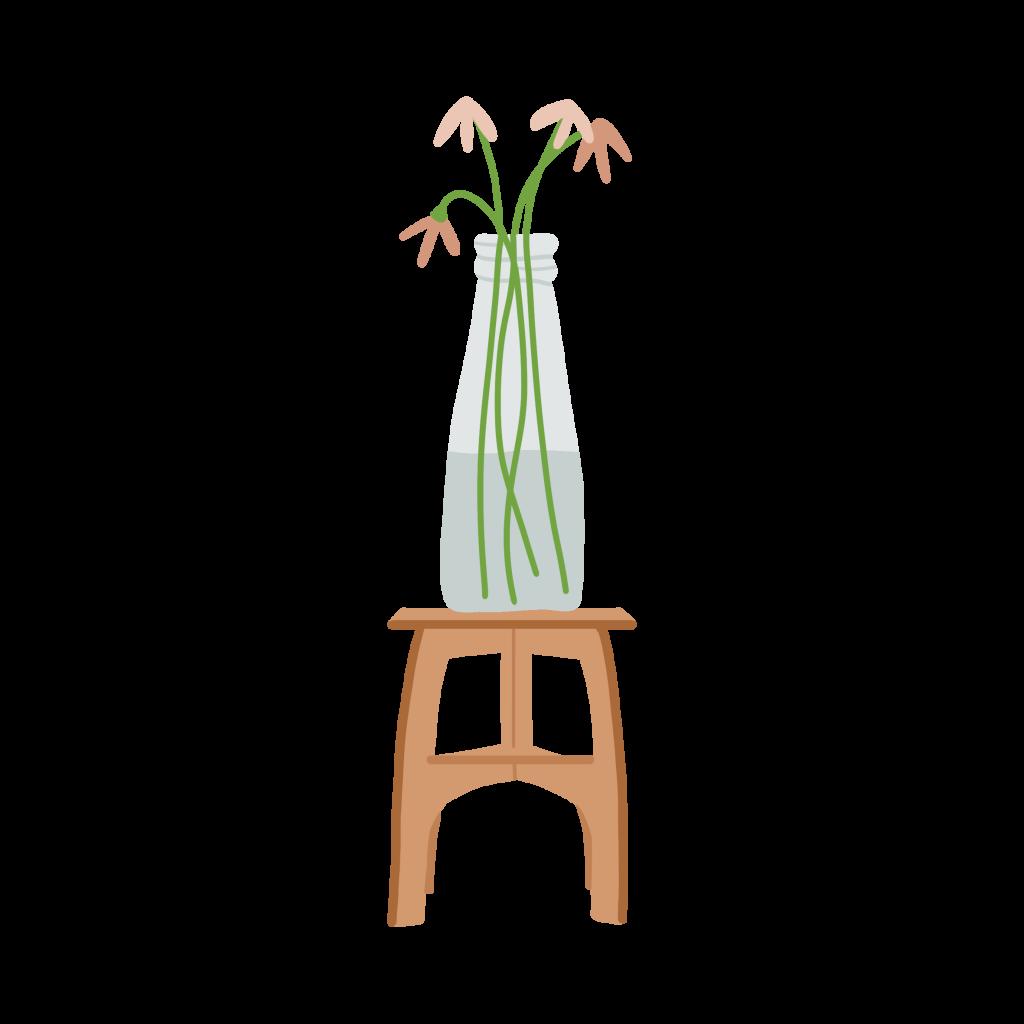 In de etalage zie je dit vrolijke plantentafeltje staan als illustratie