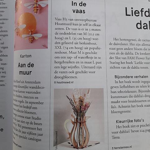 houtmoed vaas in bloem&blad vaktijdschrift